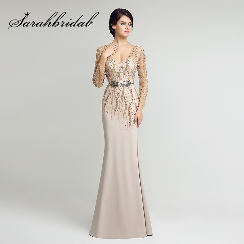 Long Sleeves Mother of the Bride Dresses Sexy V Neck Mermaid Beading Sash In Stock Floor Length Satin Evening Gowns LX277