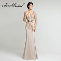Mermaid Evening Dresses Sheer Long Sleeves 2017 Sexy Backless Beading Sash Floor Length Chiffon Mother Of