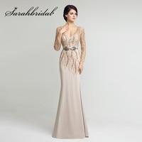 Mermaid Evening Dresses Sheer Long Sleeves 2017 Sexy Backless Beading Sash Floor Length Chiffon Mother Of
