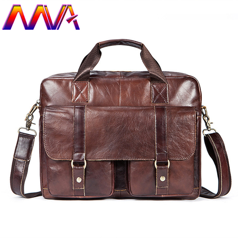 Mva Genuine Leather Men Briefcase Quality Cow Leather Men Shoulder Bag Cheap Price Business Laptop Bags Genuine Leather Bag Men calmoon 831 men s genuine cow leather shoulder bag black