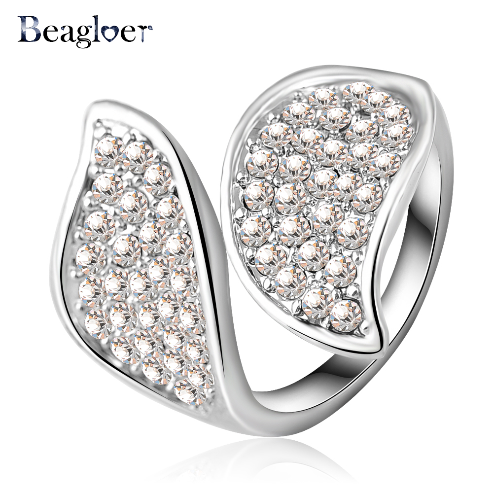 Beagloer Newest Unique Special Leaf Shape Rings With Crystal Fashion Jewelry Ri-HQ0168