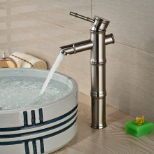 Deck Mounted Single Handle Basin Sink Faucet One Hole Countertop Bathroom Vessel Sink Mixer Taps Brushed