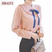 Sweet Lady Lotus Chiffon Shirt Woman Spring 2018 Long Sleeve Blouse Peter Pan Collar Bow Tie