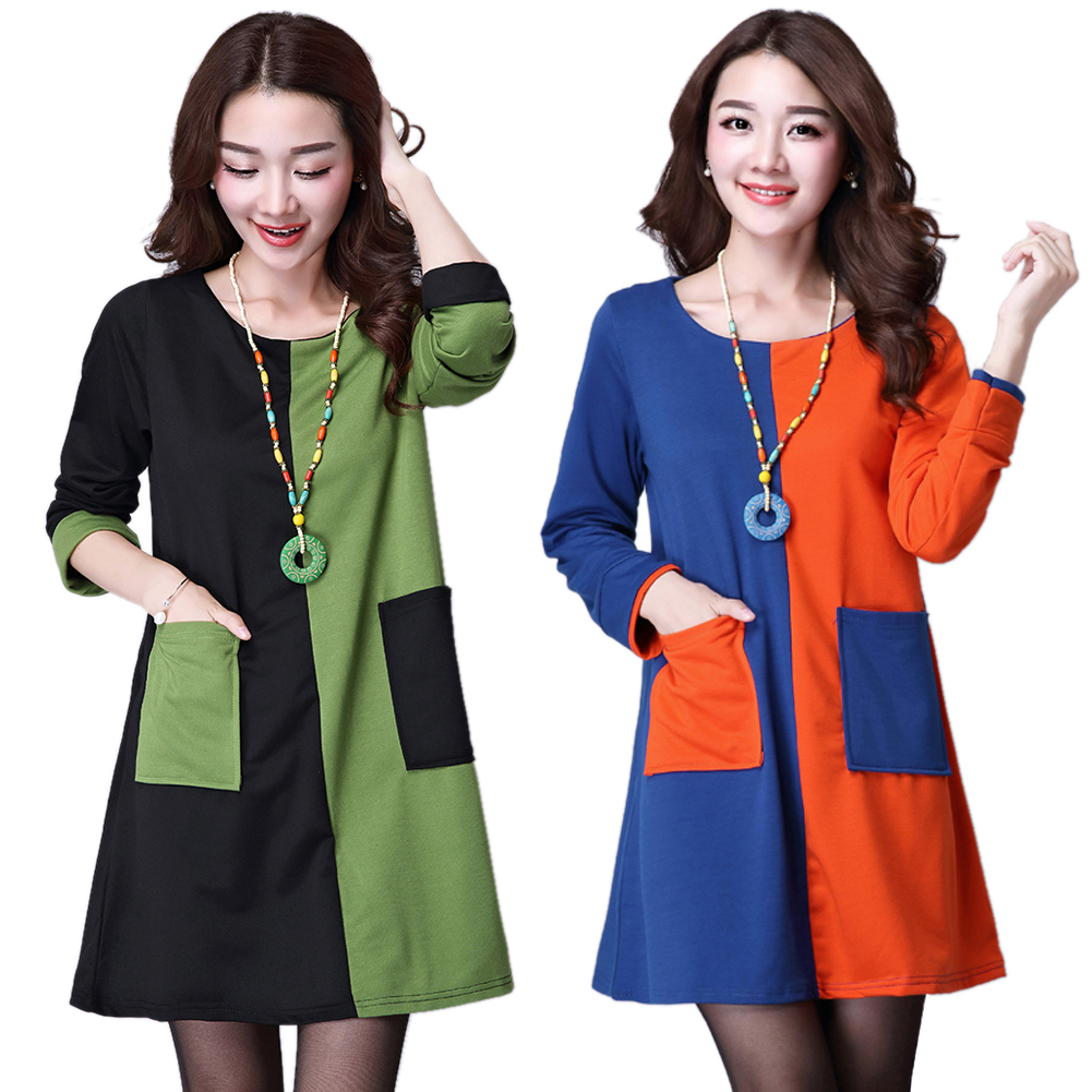 Autumn Contrast Color Long Sleeve Cotton Loose Mini Dress Plus Size Women New Large Size Round Neck Dresses Winter