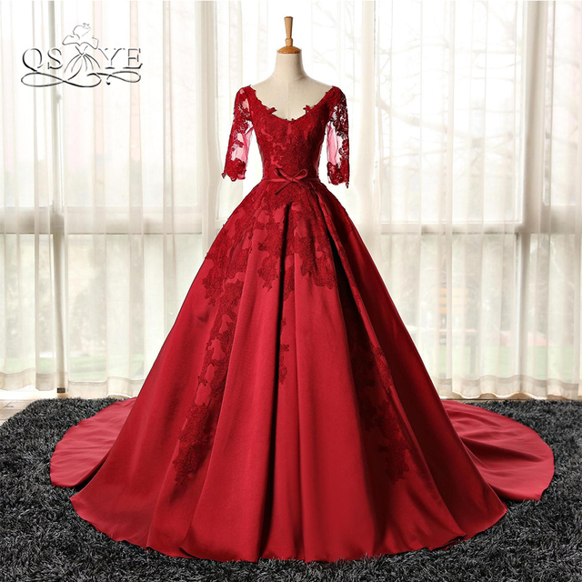 9546c646316 QSYYE 2018 Vestido Red Ball Gown Long Prom Dresses V Neck Half Sleeve Lace  Satin Sexy Open Back Formal Evening Dress Party Gown