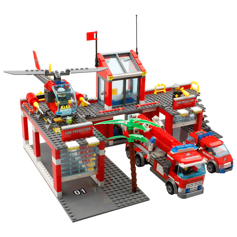 KAZI New 774pcs City Fire Station Truck Helicopter Firefighter minis Building Blocks Bricks Toys brinquedos toys for children kazi fire department station fire truck helicopter building blocks toy bricks model brinquedos toys for kids 6 ages 774pcs 8051