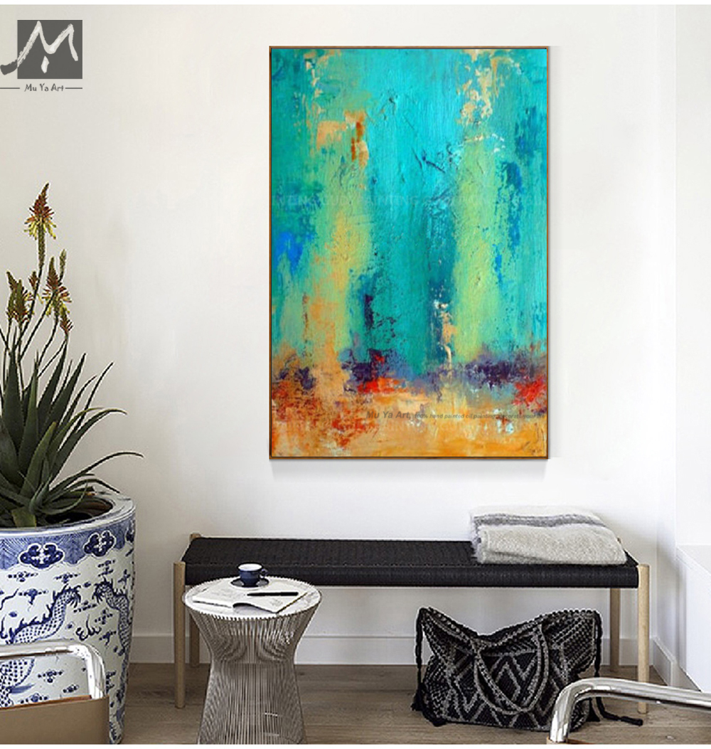 great paintings for living room muya painted modern abstract painting emerald 23883