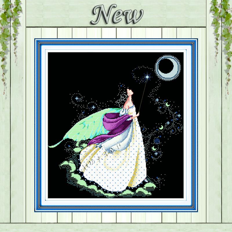Moon Fairy Angel Girl Painting Counted On Canvas Cross Stitch Embroidery Kits Needlework Set DMC 14CT 11CT Black Cloth Unprinted