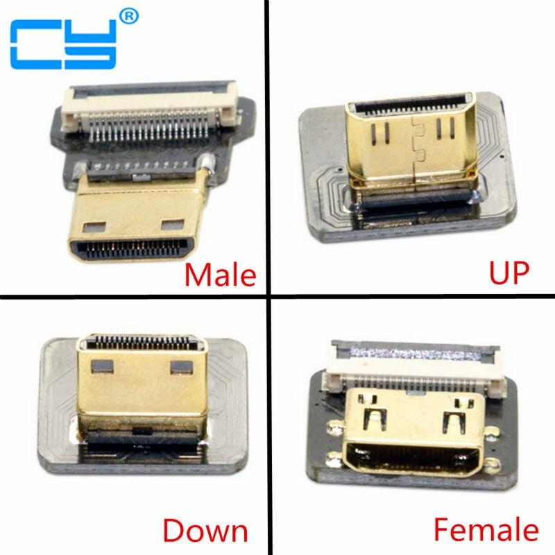 FPV Mini HDMI C tipo vyrų / moterų jungtis žemyn / viršūnė 90 laipsnių kampu FPV HDTV multikopterio aerofotografavimui