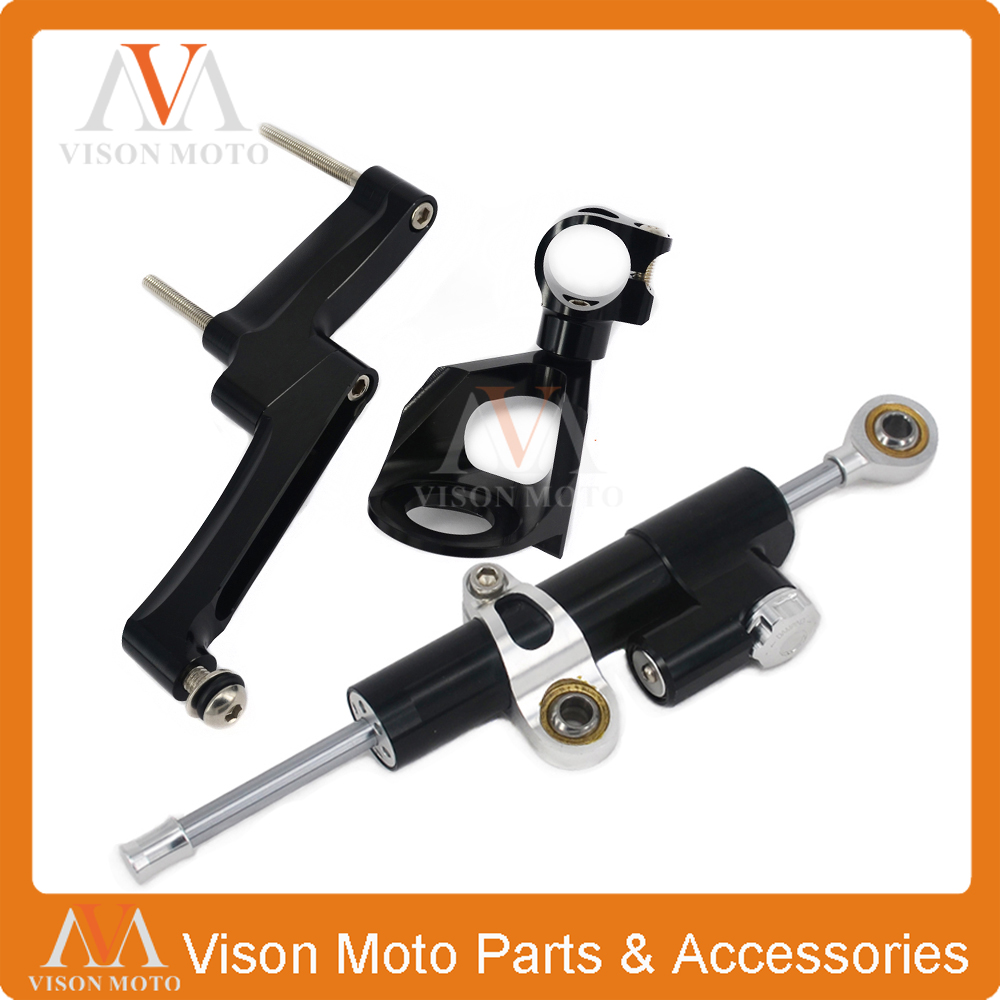 CNC Steering Damper Set Stabilizer With Bracket Mounting Assemblly For GSXR1300 98 99 00 01 02 03 04 05 06 07 08 09 10 11-16 cnc steering damper set stabilizer with bracket mounting assemblly for kawasaki ninja300 ninja 300 ex300 13 14 15 16 2013 2016
