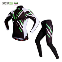 Wosawe Men Women Cycling Sets Green Spring Summer Bicycle Jersey Breathable Padded Pants MTB Bike Clothes