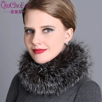 Women scarves for winter natural silver fox fur scarf warm collar brand new fashion fur shawl female winter fur ring