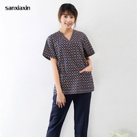 Sanxiaxin hospital medical scrub clothes Europe and the United States printing surgical suits pet doctors dental nurses uniforms