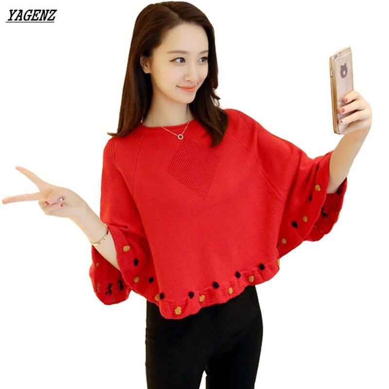 YAGENZ Bat rukávy svetr dámské pletené zboží 2017 nový kulatý výstřih pláště Shawl pletený svetr jaro podzim volný žena volný čas topy