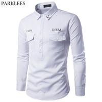 Anchor Print Shirt Men 2017 Brand New Two Pocket Mens Shirts Long Sleeve Slim Fit Camisa