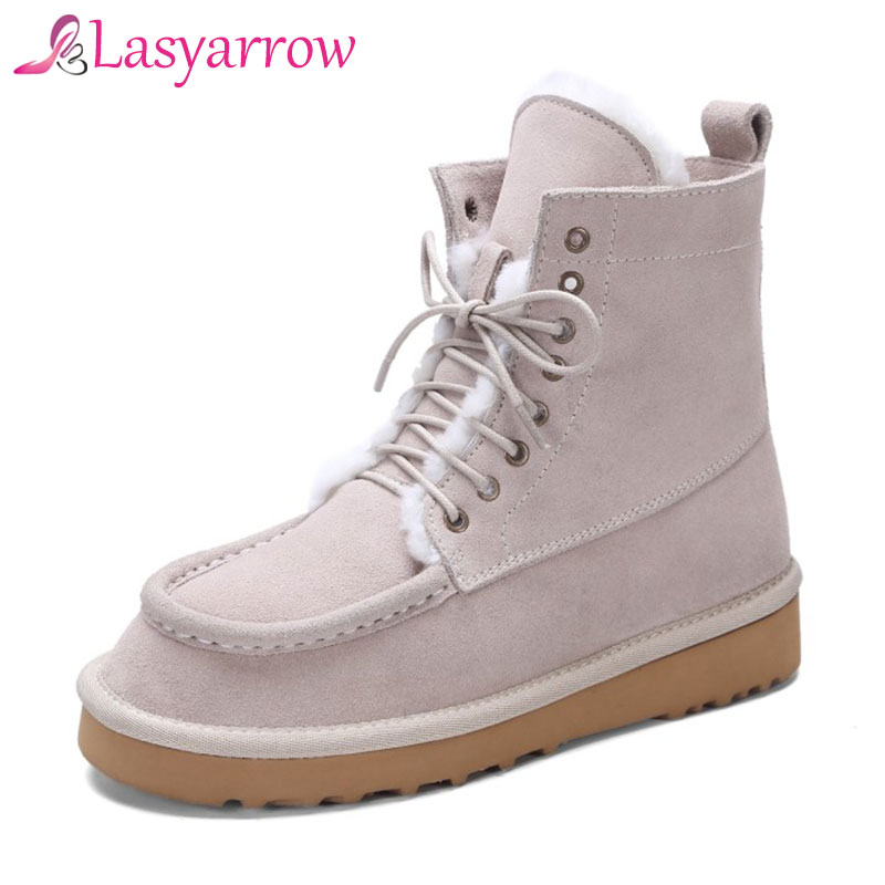 Lasyarrow Concise Botas Mujer Waterproof Genuine Cowhide Leather Snow Boots Winter Shoes for Women Platform Ankle Boots RM142 autumn and winter new personality retro cowhide ankle boots handsome female waterproof platform genuine leather women shoes 9731