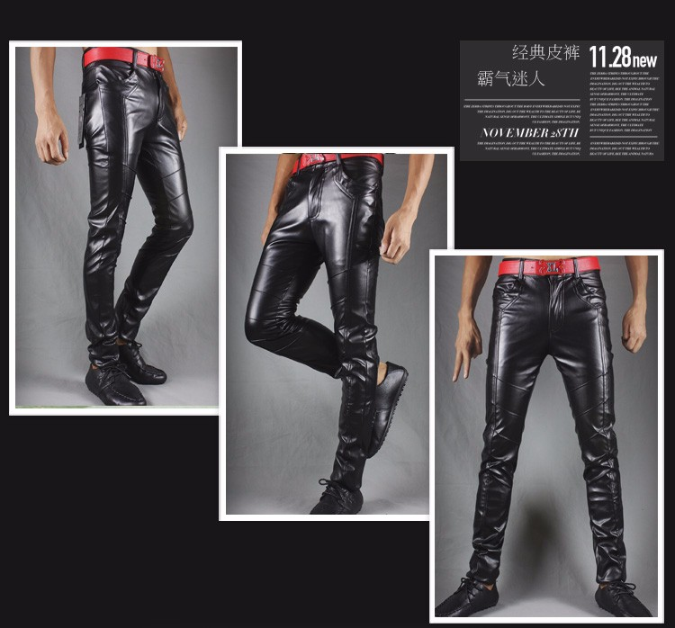 Winter new leather pants men Slim flesh tight pants motorcycle night club hair stylist feet leather pants tide 36
