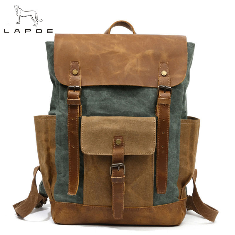 LAPOE New Vintag Wax Canvas Leather Male Backpack Waterproof Large Capacity Men Laptop Bags Pack Travel Schoolbags For Teenagers cool leopard lion men backpack male travel large capacity backpacks 17 inch men s laptop back pack teenager boys new school bags