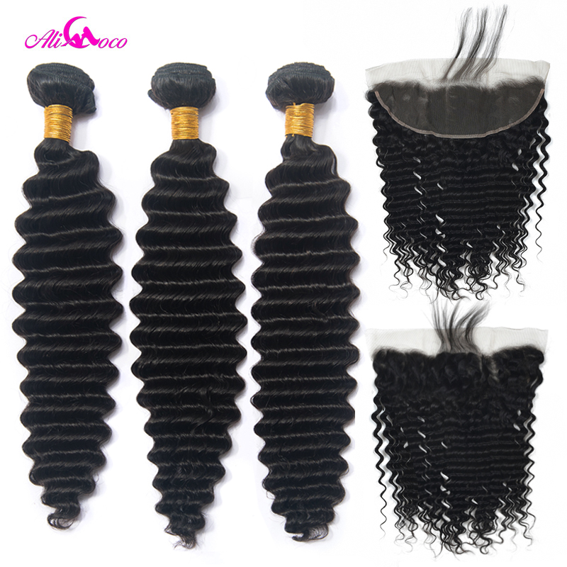 Ali Coco Deep Wave 2 3 4 Bundles With Frontal Ear To Ear Lace Frontal With
