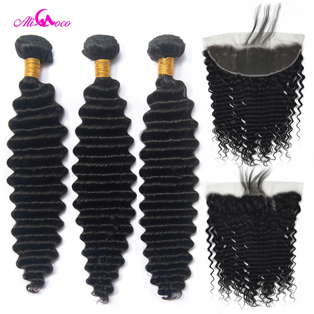 $ US $75.04 Ali Coco Deep Wave 2/3/4 Bundles With Frontal Ear To Ear Lace Frontal With Bundles 8-30 Inch Non Remy Lace Frontal With Bundle