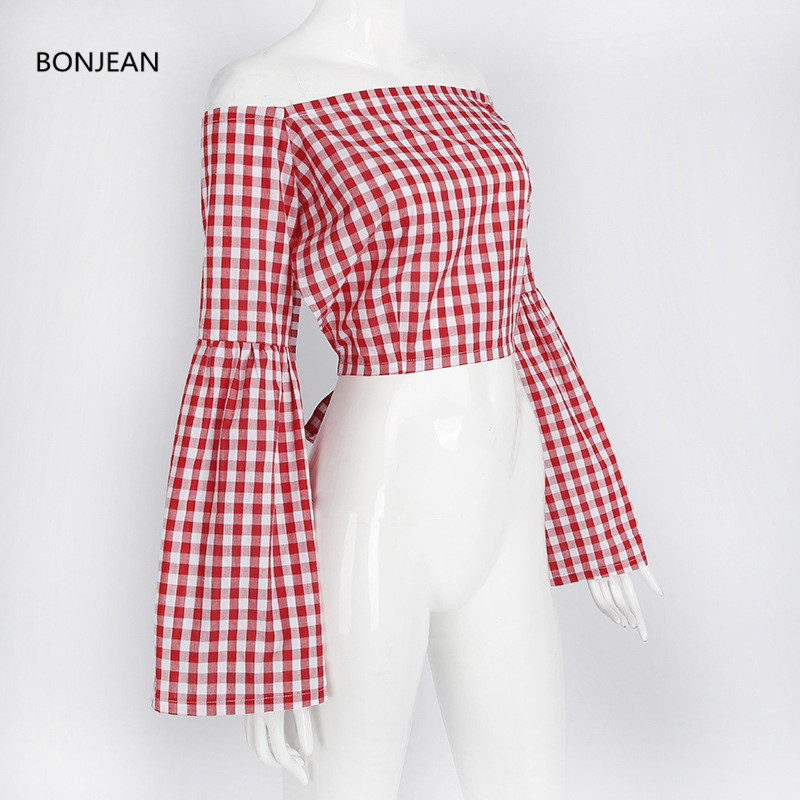 2018 Limited Blouse Body Blusas Femininas Free Shiping2018 Spring New Shirt Female Horn Sleeve Sexy Halter Word Shoulder Plaid