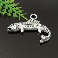 20pcs/lot Antique Silver Zinc Alloy 24*20mm Fish Necklace Pendant Animal Jewelry Making Accessories Bracelet Charms Crafts 39430