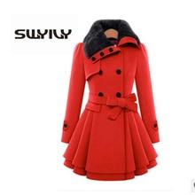 SWYIVY Women Woolen Coats Jacket Fur Warm Long Design 2018 Winter New Female Fashion Coat Large Size 4XL Woman