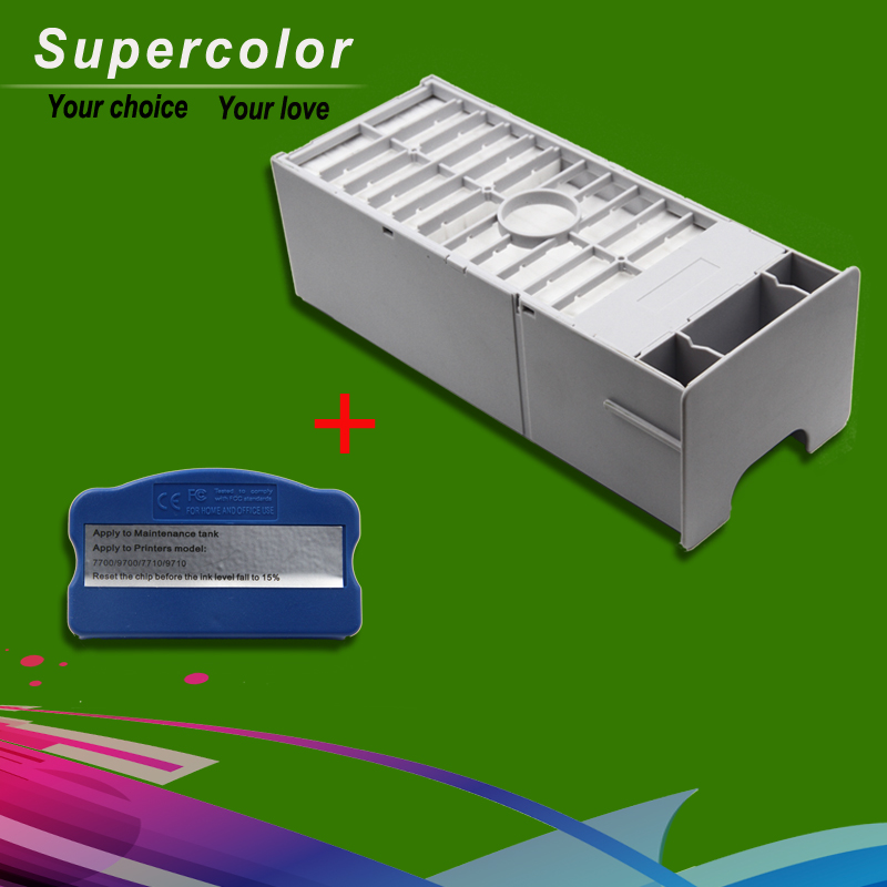 Free Shipping For EPSON 7700 9700 7710 9710 Maintenance Waste Tank With Resetter maintenance tank with chip for ep 9700 7700 9710 7710 printer