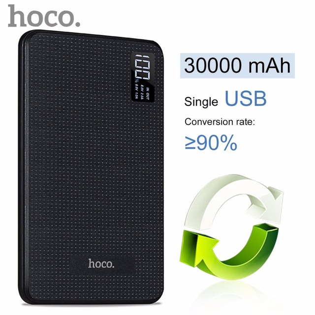 ORIGINAL HOCO Portable Fast Charge 30000mAh Mobile Power Bank Three USB Output Lithium Polymer Batteries Digital Display