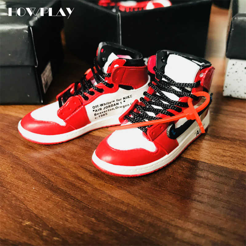 arrives 43f26 76cd8 ... Howplay AJ1 OW 3D keychains Off White Joint Collection mini Sneakers  Model Shoes Creative Gifts for ...