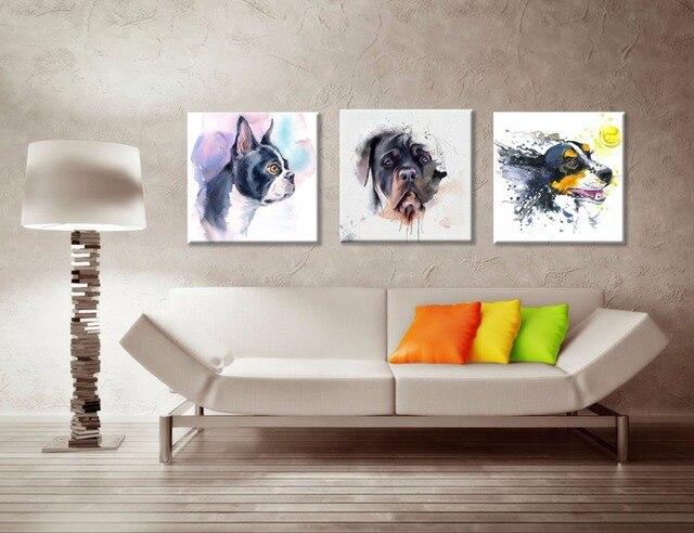 Grappige hond aquarel doek art prints diy uw kind kamer woonkamer