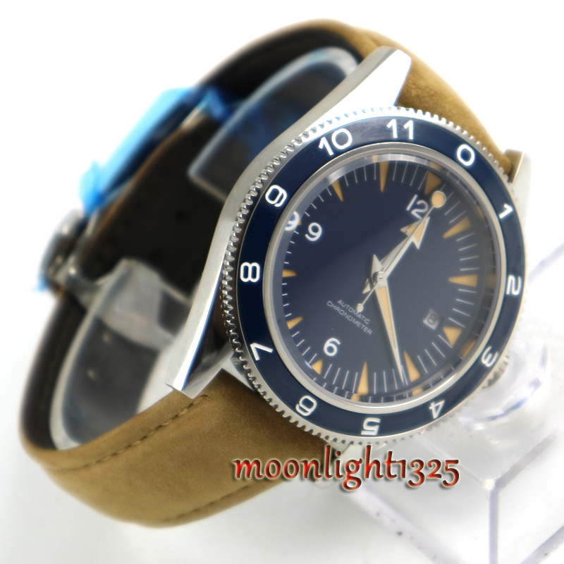 DEBERT 41mm Blue sterile dial brown strap date ceramic bezel 5ATM MIYOTA 821A Mechanical Automatic mens watch все цены