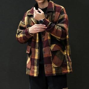 Image 3 - גברים של תעלת חאקי 2019 חורף משובץ עיצוב צמר מעיל גברים אופנה אחת חזה אפונה מעיל גדול גודל 5XL אדום #3093