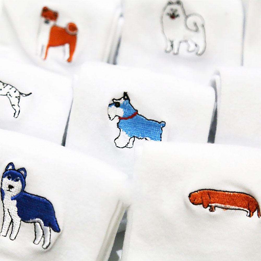 Lovely Cartoon Dog Embroidery Cotton White Socks Couple Stereoscopic Jacquard