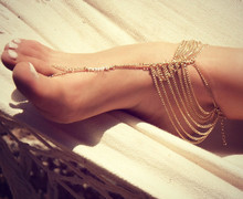 SL007 Fashion Gold Alloy Multi Tassel Toe Ring Link Chain Barefoot  Wedding Anklet Toe Jewelry 1PCS