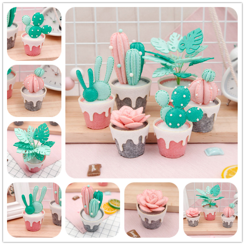 3Pcs/Set Succulents Potte Lovely decoration Felt DIY Craft Kit Handmade Sewing Cloth for Home&Office Ornament Cactus Package