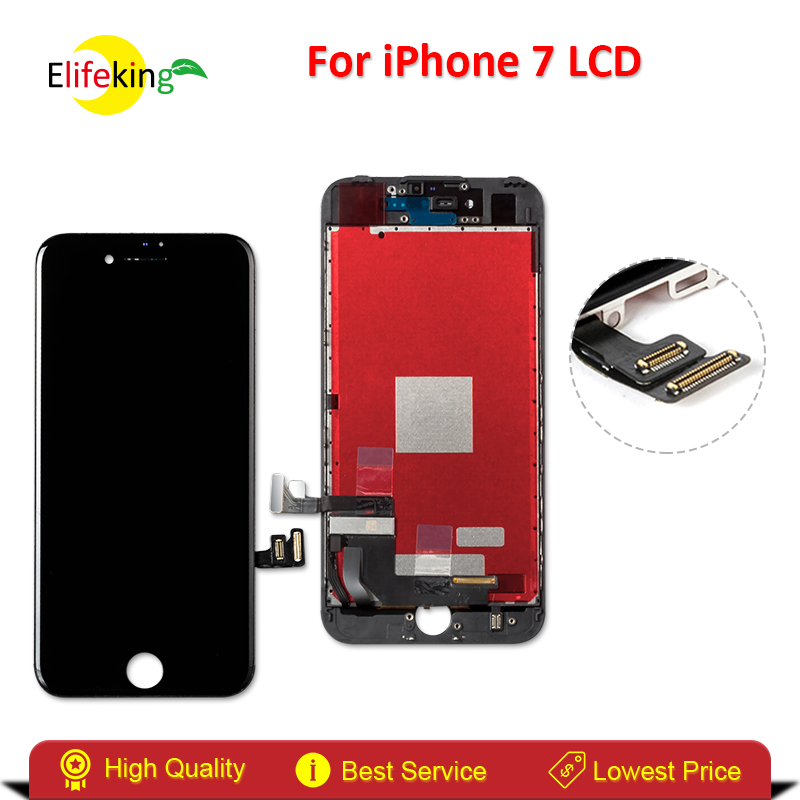 Elifeking 5PCS/LOT For  Iphone 7 LCD  Touch Display Digitizer Assembly Replacement  No Dead Pixel  For  Iphone 7 Black And White elifeking 100% tested white black for iphone 4s lcd display touch screen digitizer assembly frame tempered glass free shipping
