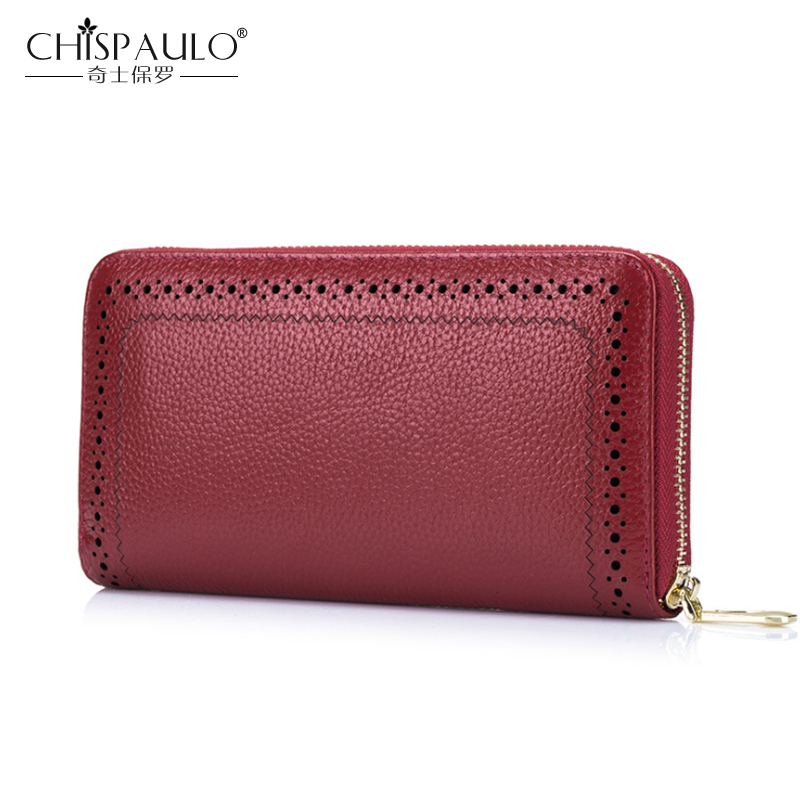 2018 New Genuine Leather Women Wallet Famous Brand Luxury Designer Purse Zipper Clutch Bags High Quality Long Wallets carteira famous women luxury brand wallets genuine leather purse clutch ladies rivet pink wallet designer high quality long wallet thin