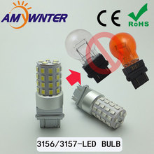 High Power P27W 3157 Dual color DRL car styling Light Function LED White Yellow Brake lights  3156 P27/7W Car Source