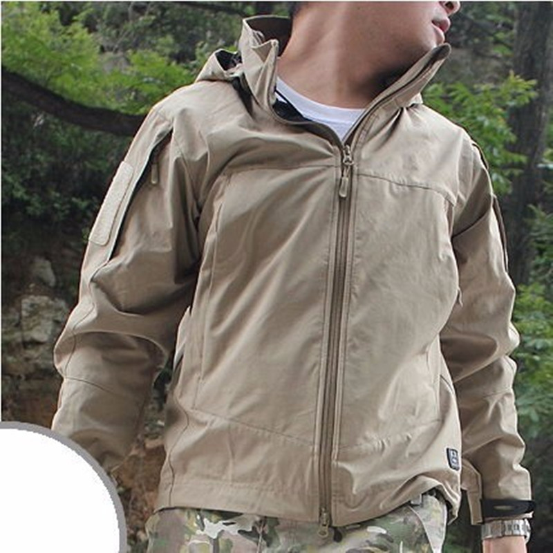Camping Lightweight Soft Shell Tactical Men Waterproof Windproof Sport Coat Hoodie Hike Outdoor Clothing Army Military Jacket