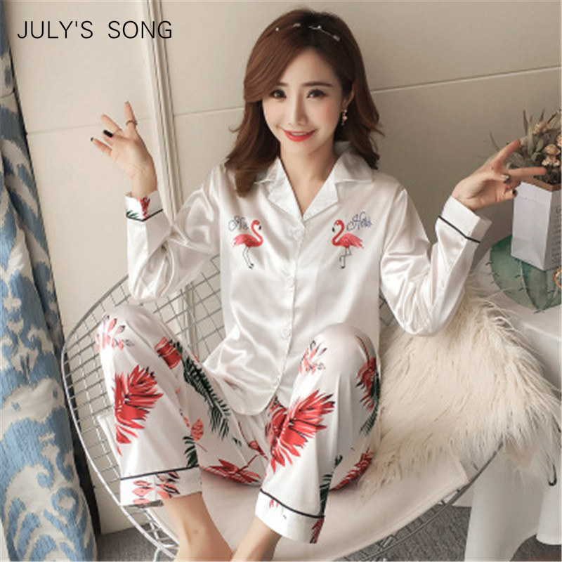 JULY'S SONG Women's Faux Silk Satin   Pajamas     Set   Sleepwear   Pajamas   Long Sleeves Suit Female Sleep Two Piece   Set   Lounge Plus Size
