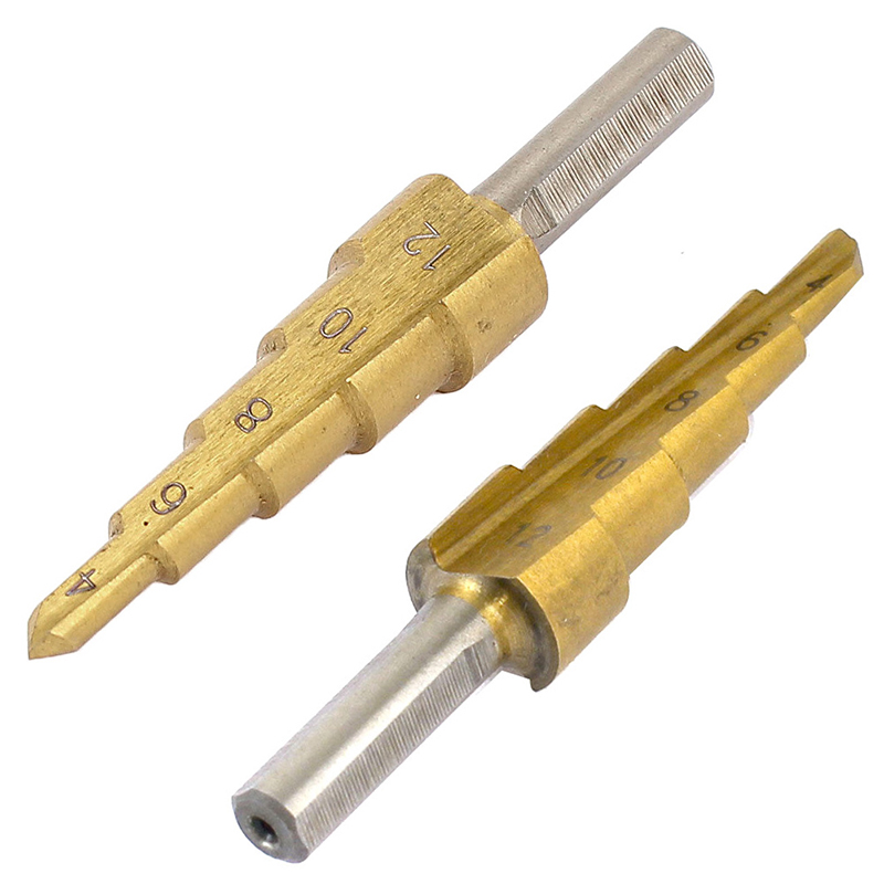 HSS Titanium Step Cone Metal Drill Bits 4-12mm Tone Triangle Shank Hole Cutting Woodworking Wood Drilling Power Tools Mar 2017 jigong 3pcs set titanium step drill bits hss power tools high speed steel hole cutter wood metal drilling 3 12mm 4 12mm 4 20mm
