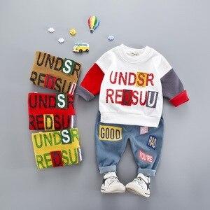 Весенне-осенние комплекты одежды для маленьких детей одежда с надписью для малышей детский спортивный костюм для мальчиков и девочек осенн...