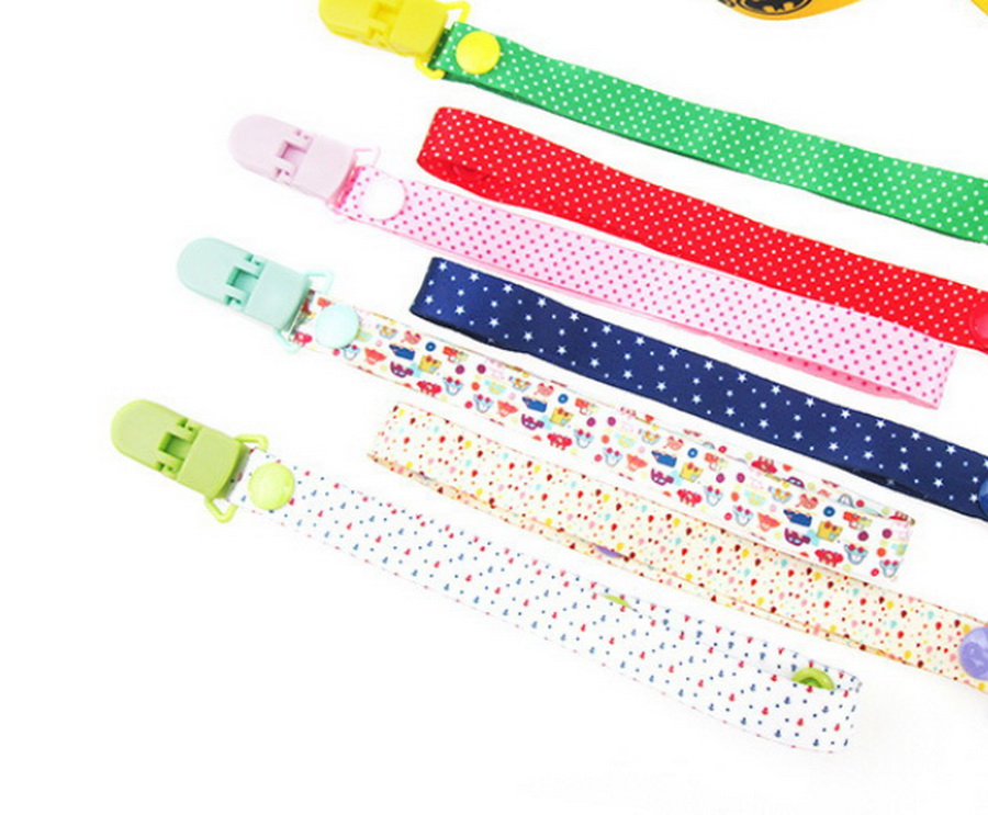 DHL 200pcs Cartoon Fixed Button Baby Pacifier Clip Chain Ribbon Soother Holder Chain Anti drop Buckle Strap-in Pacifier from Mother & Kids    1