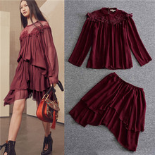 fashion 2017 spring summer ruffle embroidered flare blouses and irregular skirt sets silk chiffon long sleeve tops skirts 2 pcs