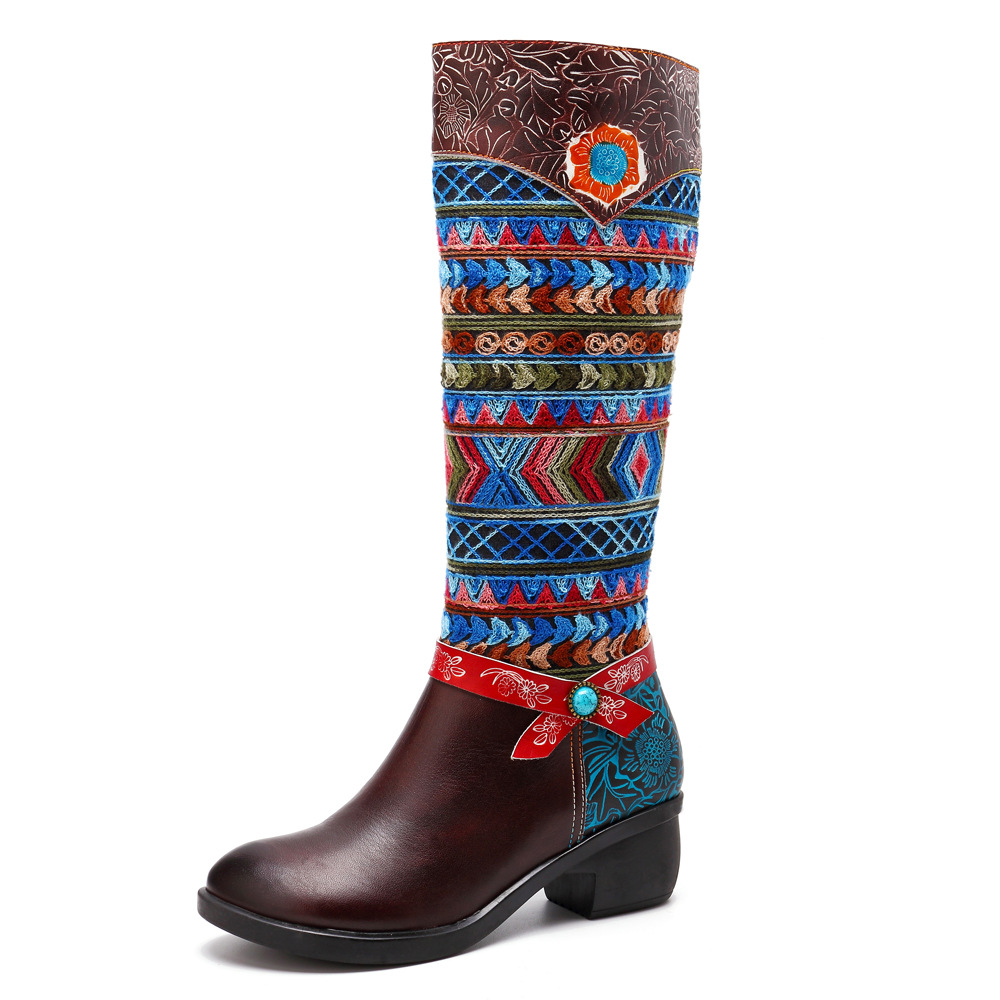Johnature Knee High Boots Flower Retro 2019 New Genuine Leather Ankle Boots for Women Autumn Ladies