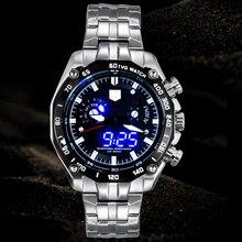 Deportes reloj LED hombres de reloj TVG marca informal de negocios de lujo relojes hombres moda azul del binario hombre reloj de acero inoxidable