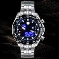 Sports LED Watch homens relógio de pulso TVG marca de luxo Business Casual relógios homens moda azul homem binário relógio de aço inoxidável
