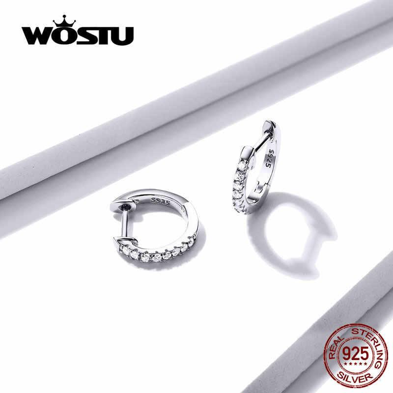 WOSTU 925 ayar gümüş klasik yuvarlak gümüş halka küpe otantik temizle zirkon küpe kadınlar için moda takı CQE498