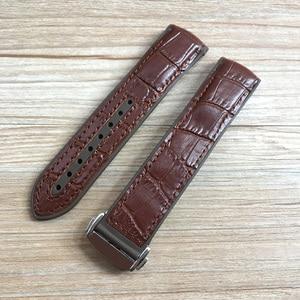 Image 2 - 20mm 22mm Dark Blue Black Brown Rubber With Leather Watch Band Strap For OMEGA Planet Ocean Seamaster 300 Speedmaster Bracelet